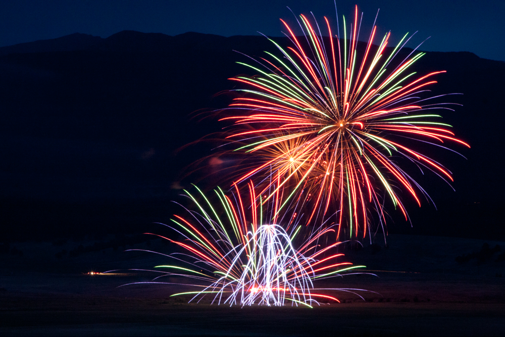 Red, green, and blue fireworks