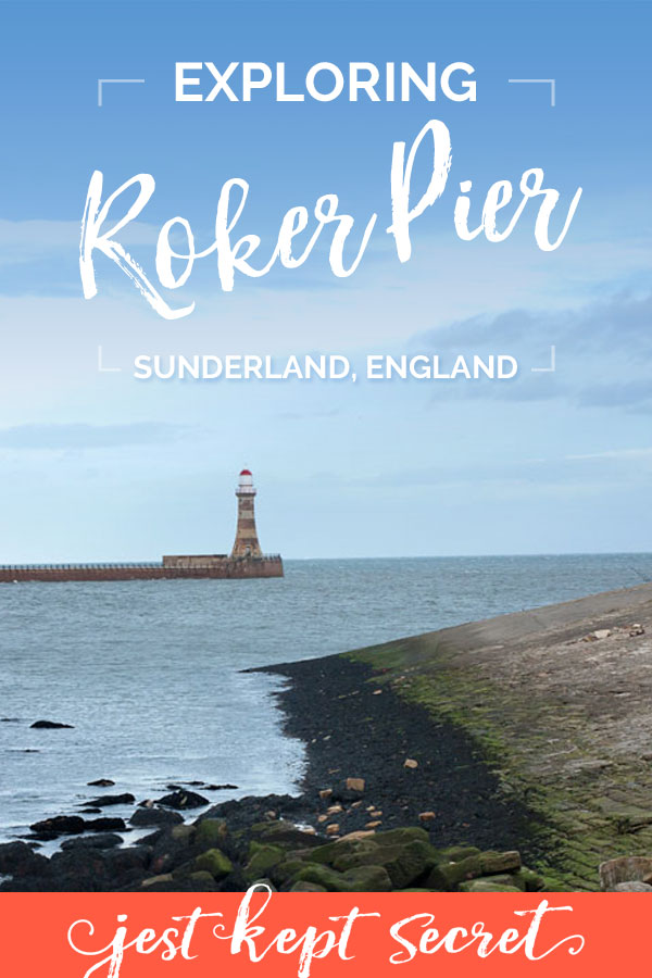 Pinnable image for this post, featuring Roker Pier and lighthouse