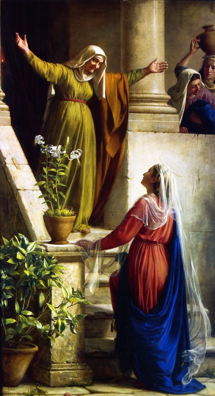 Elizabeth greets Mary with open arms on the front steps of her house