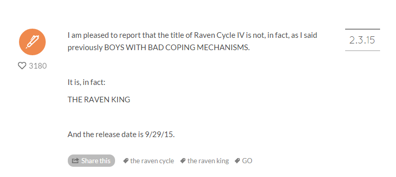 The Raven King Tumblr Announcment