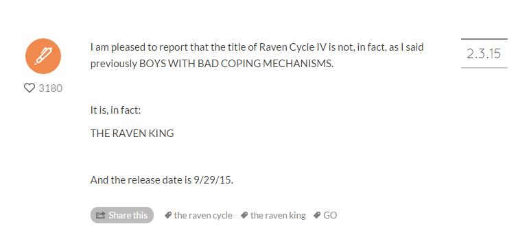 The Raven King Tumblr Announcment