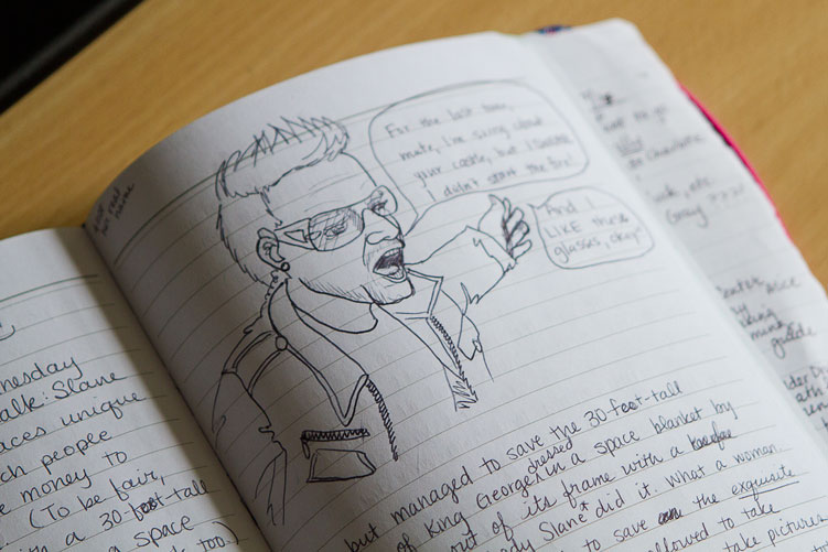 Drawing of Bono in a journal