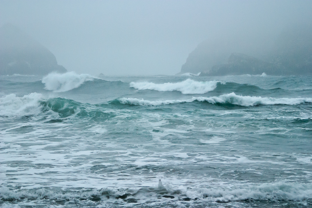 Choppy waves and sea rocks