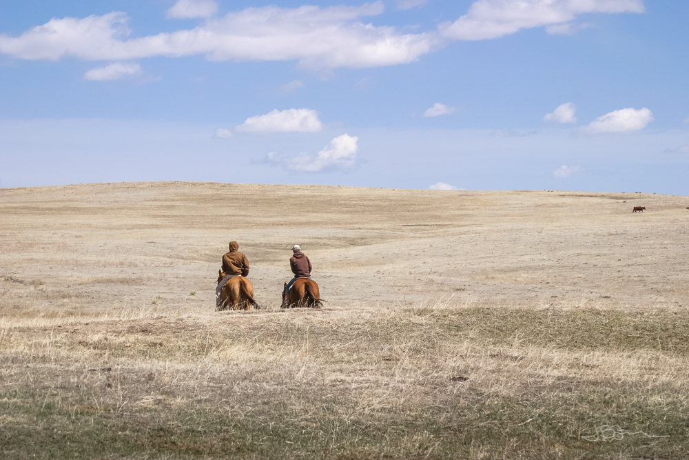 Two men on horseback riding out into the hills