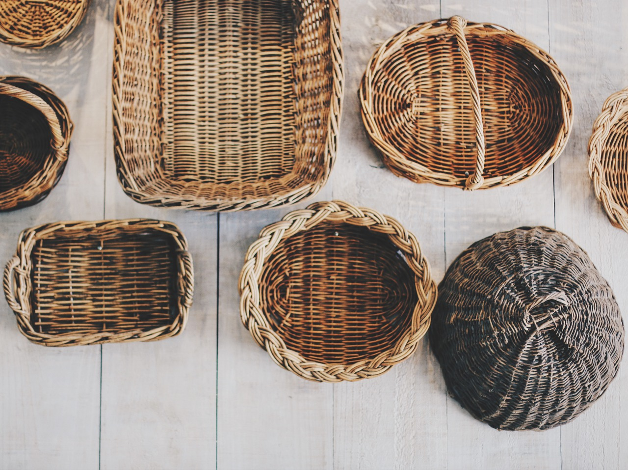 Baskets of a variety of sizes and shapes