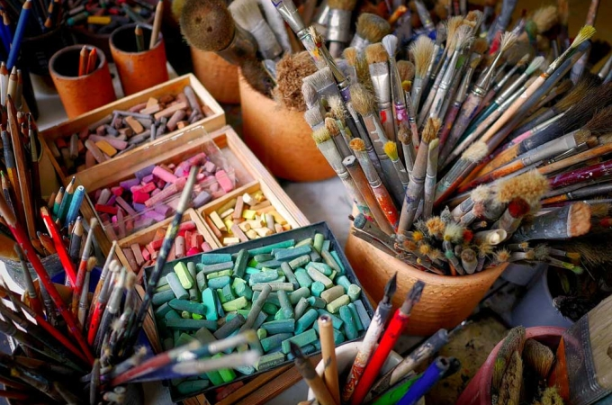 Paint brushes and pastels