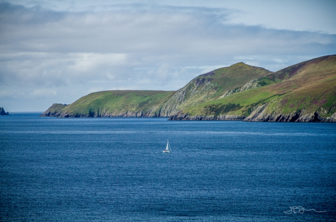 Sailboat by Ireland's Blasket Islands