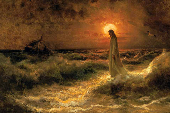 Painting of Christ Walking on the Waters by Julius Sergius Von Klever.