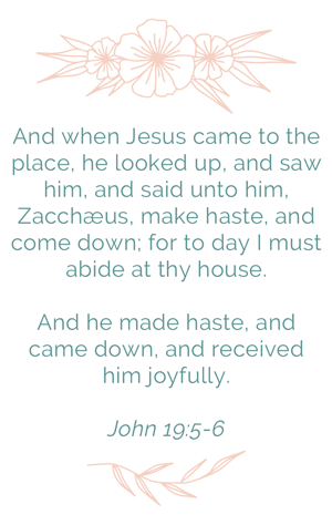 Luke 19: 5-6 And when Jesus came to the place, he looked up, and saw him, and said unto him, Zacchæus, make haste, and come down; for to day I must abide at thy house. And he made haste, and came down, and received him joyfully.