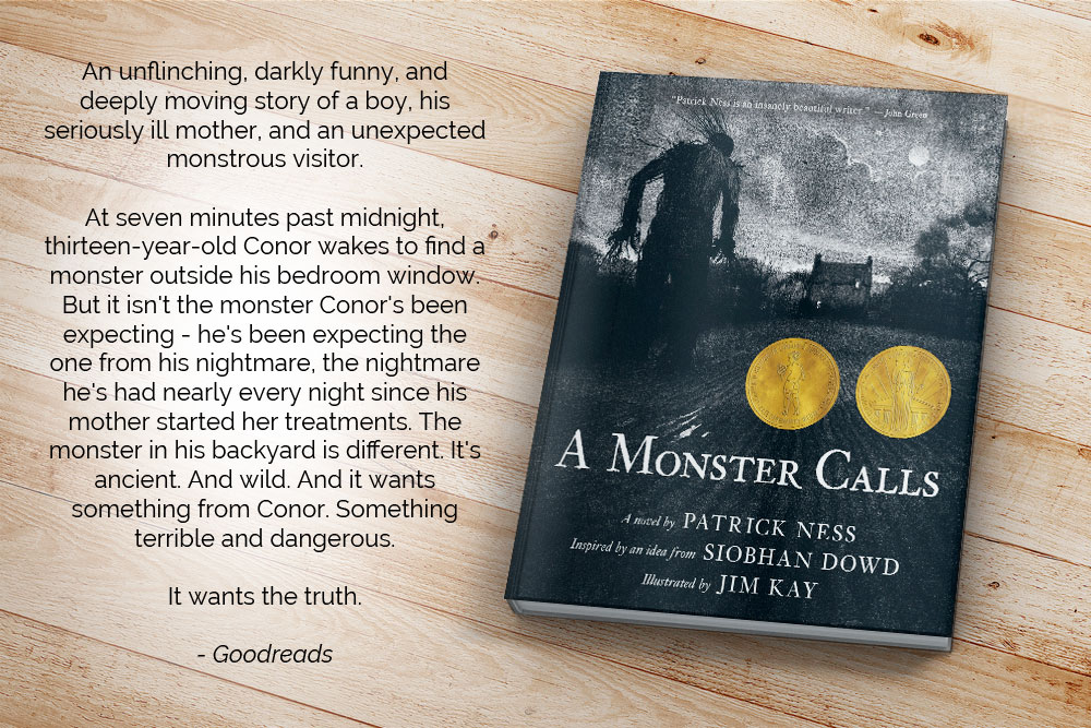 An unflinching, darkly funny, and deeply moving story of a boy, his seriously ill mother, and an unexpected monstrous visitor. At seven minutes past midnight, thirteen-year-old Conor wakes to find a monster outside his bedroom window. But it isn't the monster Conor's been expecting - he's been expecting the one from his nightmare, the nightmare he's had nearly every night since his mother started her treatments. The monster in his backyard is different. It's ancient. And wild. And it wants something from Conor. Something terrible and dangerous. It wants the truth.