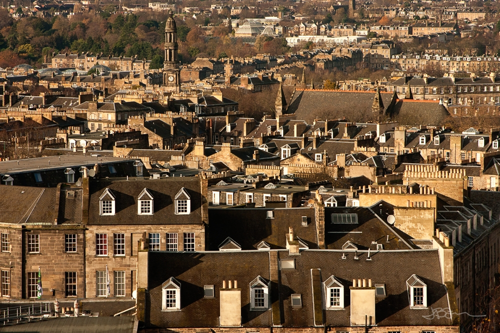 Rooftops of houses in Edinburgh, Scotland