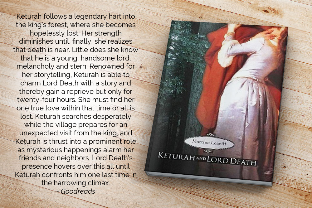 Keturah follows a legendary hart into the king's forest, where she becomes hopelessly lost. Her strength diminishes until, finally, she realizes that death is near. Little does she know that he is a young, handsome lord, melancholy and stern. Renowned for her storytelling, Keturah is able to charm Lord Death with a story and thereby gain a reprieve but only for twenty-four hours. She must find her one true love within that time or all is lost. Keturah searches desperately while the village prepares for an unexpected visit from the king, and Keturah is thrust into a prominent role as mysterious happenings alarm her friends and neighbors. Lord Death's presence hovers over this all until Keturah confronts him one last time in the harrowing climax.