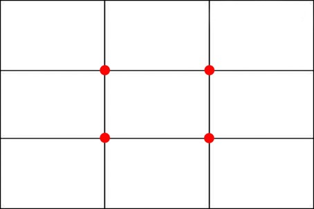 3 by 3 grid with red dots on the intersection points of the vertical and horizontal lines