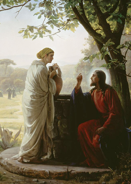 Painting of Jesus talking to a woman at a well