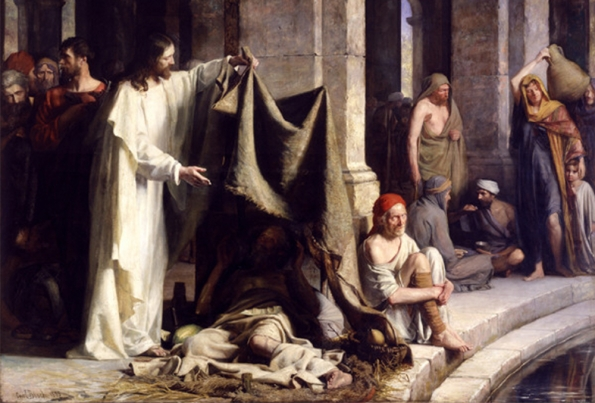 Painting of Christ offering to heal a cripple next to a pool of water