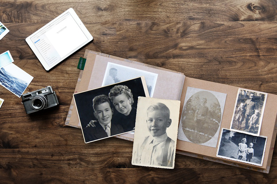 Photo album and family history photos