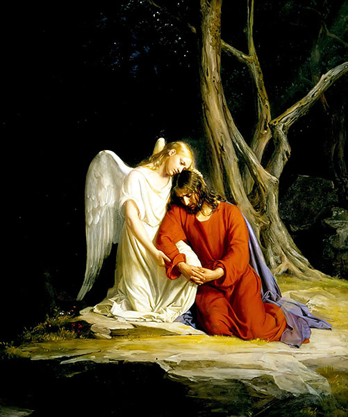 Painting of Christ being comforted by an angel in Gethsemane