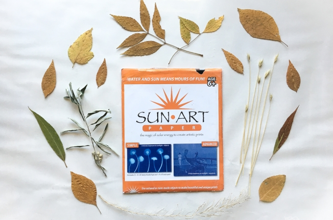 A package of Sun Art Paper surrounded by a variety of fall leaves