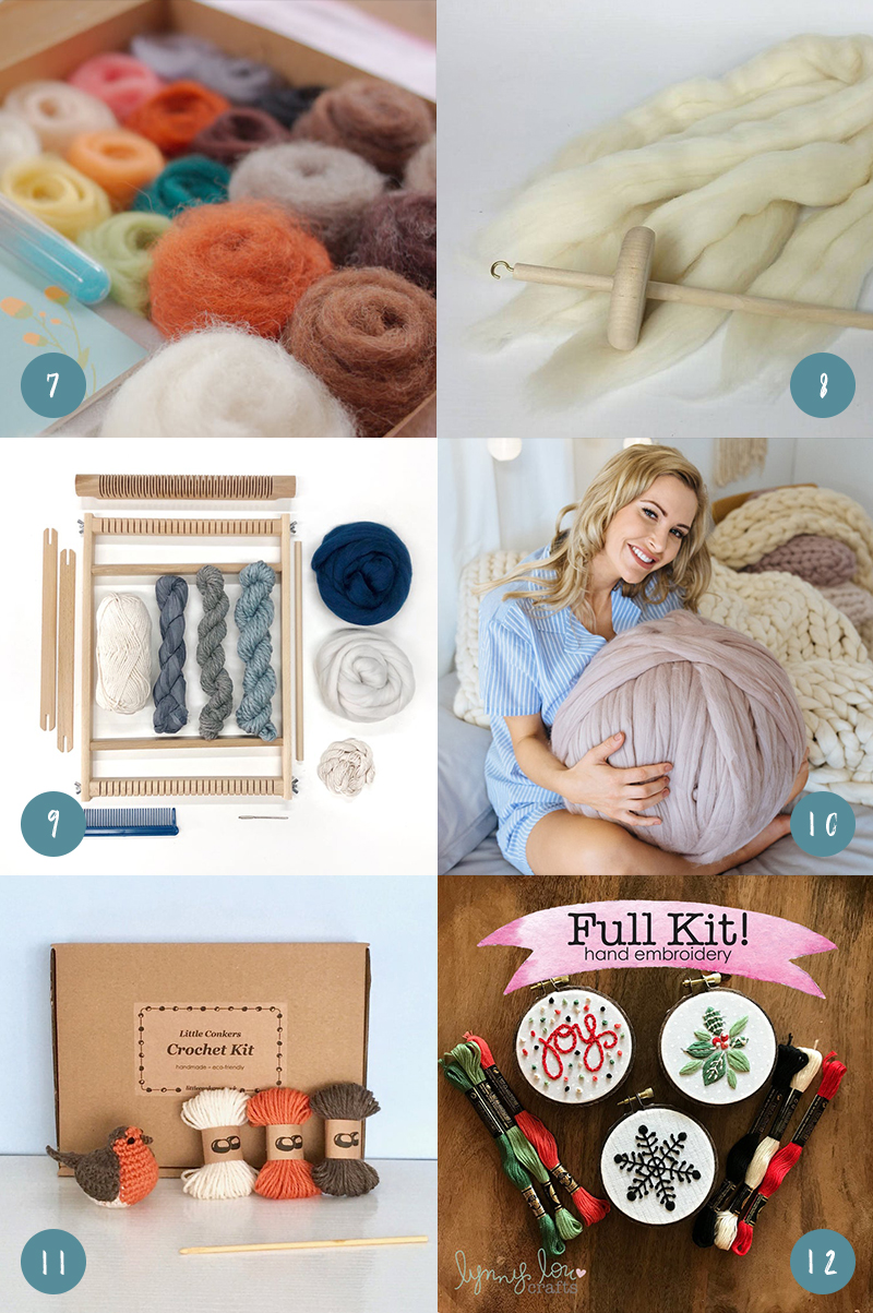 Gifts for creative people, including a needle felting starter kit, drop spindle kit, weaving kit, skein of arm knitting yarn, crochet kit, and embroidery kit
