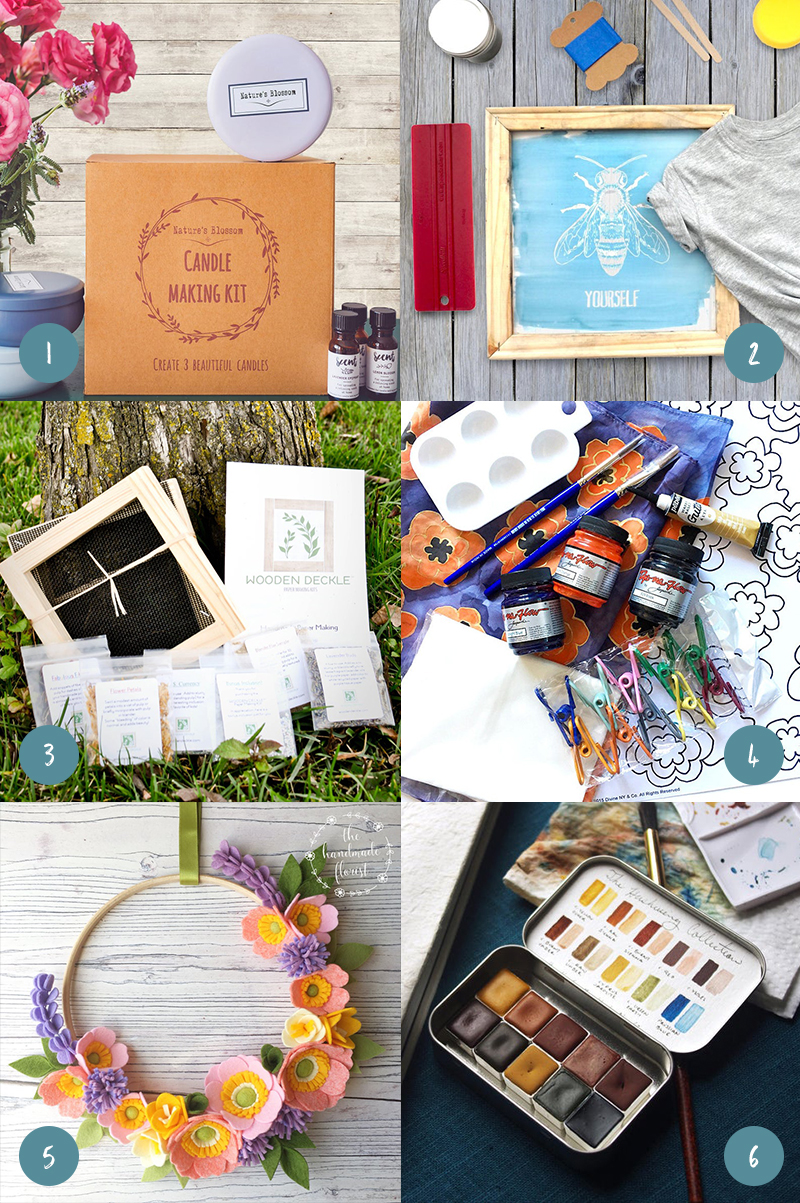 Grid of gifts for crafters, including a DIY candle making kit, screen printing kit, paper making kit, silk painting kit, felt wreath kit, and watercolor paints