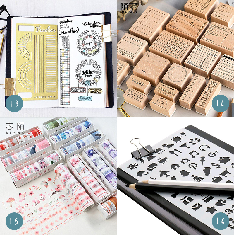 Journaling tools, including stencils, stamps, and washi tape