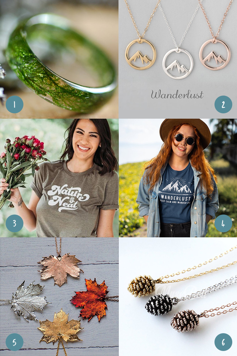 Grid of gifts for nature lovers, including a moss ring, mountain necklace, nature-related t-shirts, and leaf and pine cone pendants