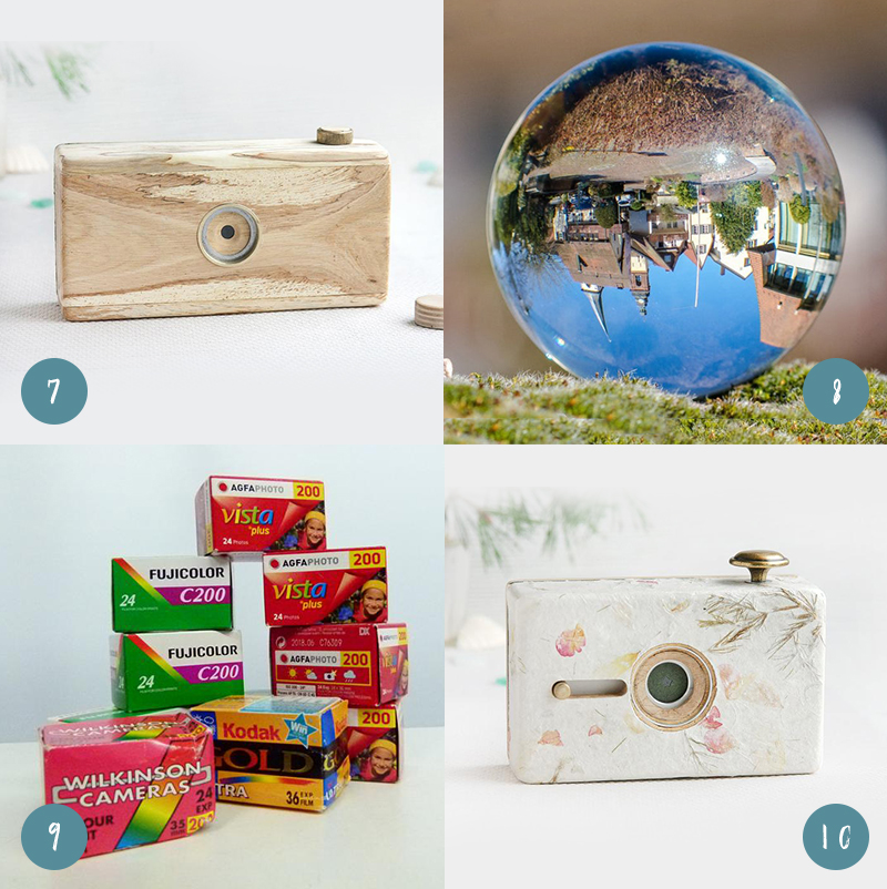 Gifts for photographers, including pin hole cameras, photo sphere, and old film