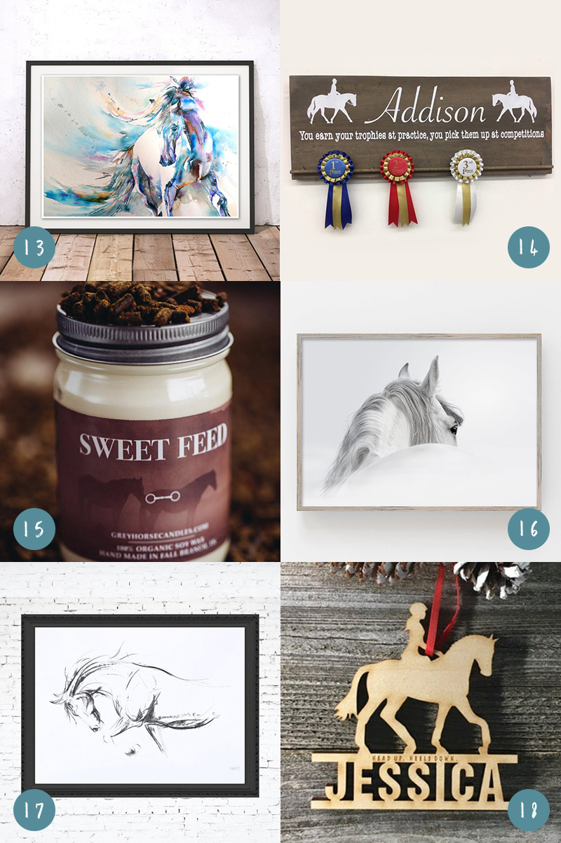 Grid of gifts for horse lovers, including three horse prints, a ribbon rack, a sweet feed scented candle, and a wooden ornament shaped like a girl riding a horse
