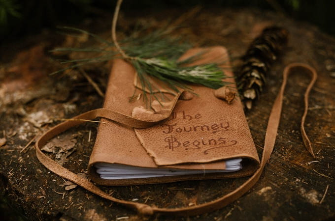 Leather journal sitting on a log with pine cone and pine bough