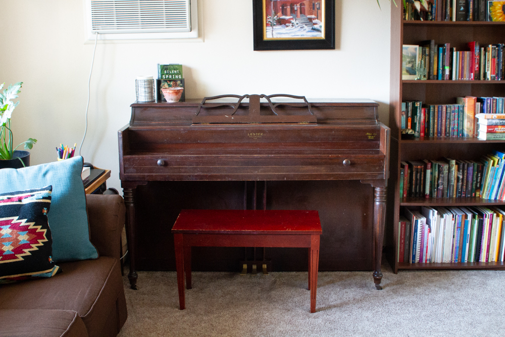 Piano in a living room