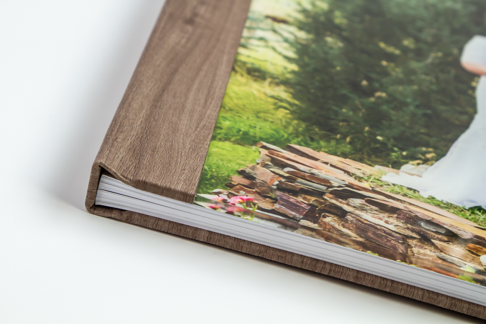 Faux wood binding on a photo book