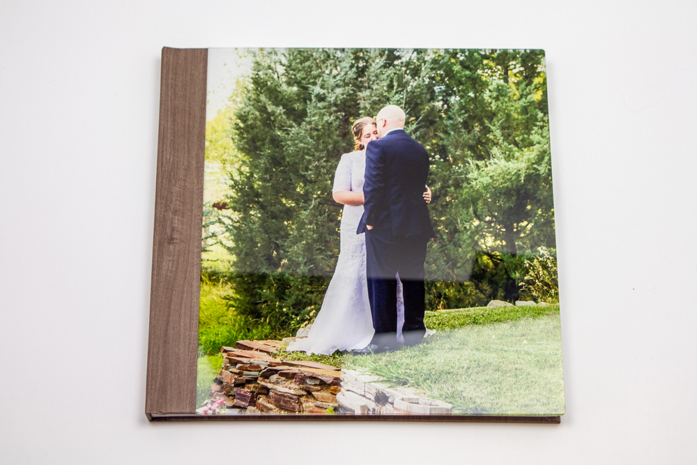Photo book with a picture of a bride and groom on the cover