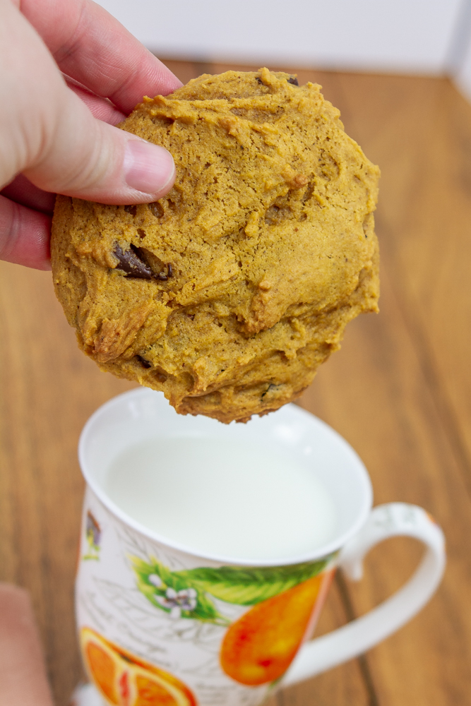 Dunking a large pumpkin chocolate chip cookie into a small mug full of milk