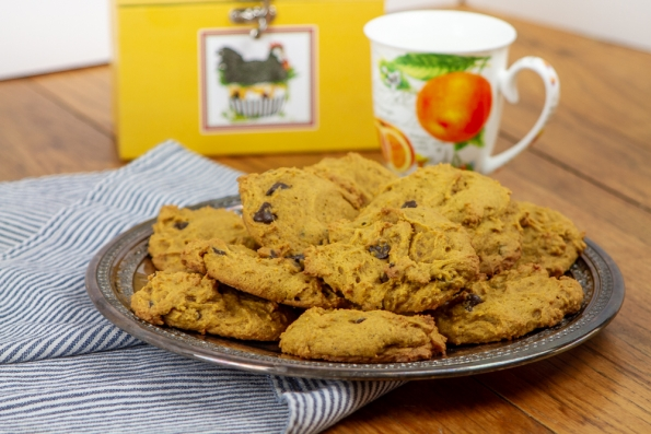 Plate of pumpkin chocolate chip cookies