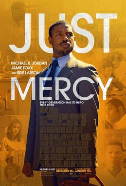 Just Mercy movie poster featuring Michael B. Jordan in a suit