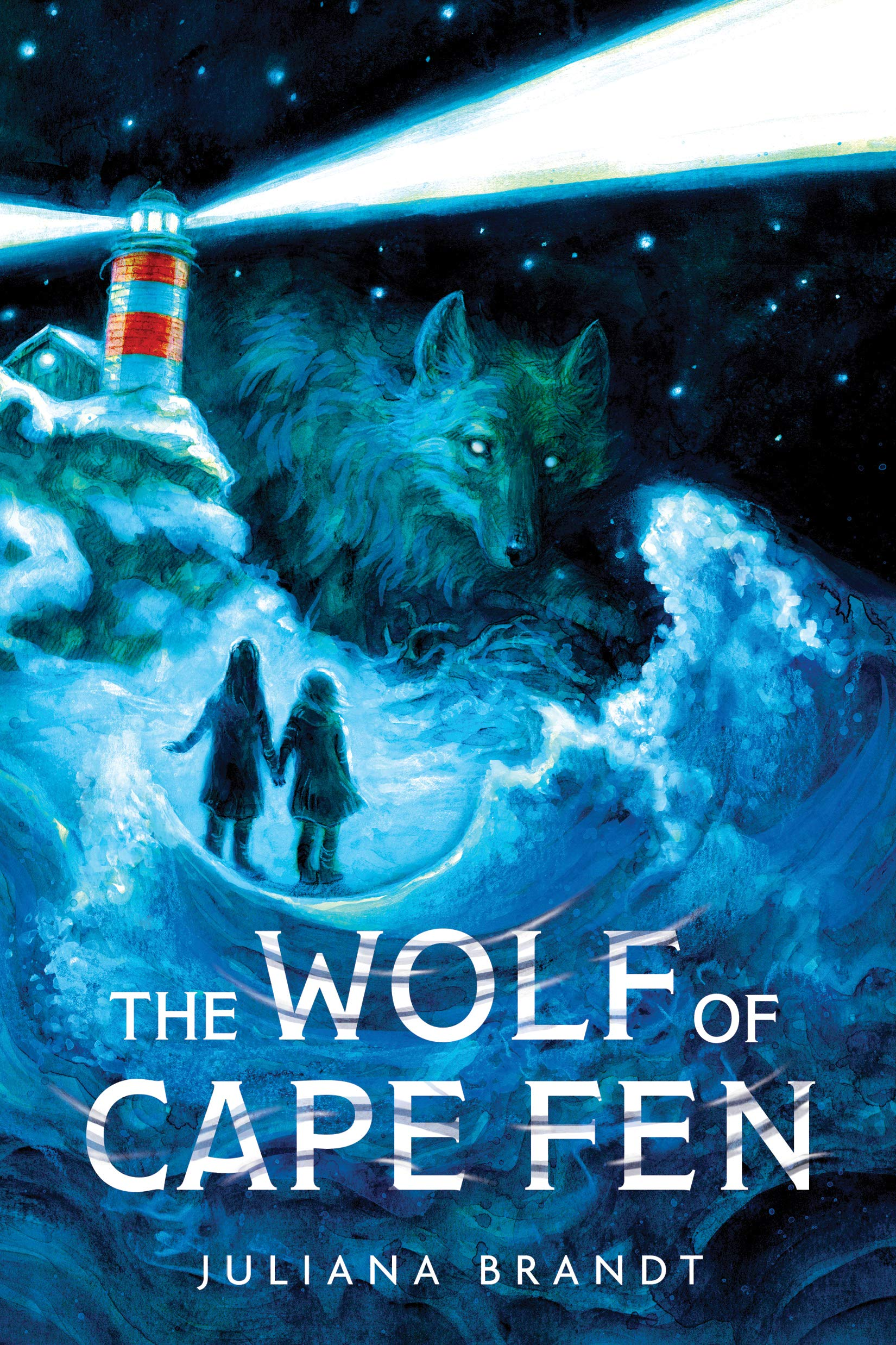 The Wolf of Cape Fen by Juliana Brandt. Book cover image shows a lighthouse, a wolf, and the silhouette of two girls walking by rough sea waves.