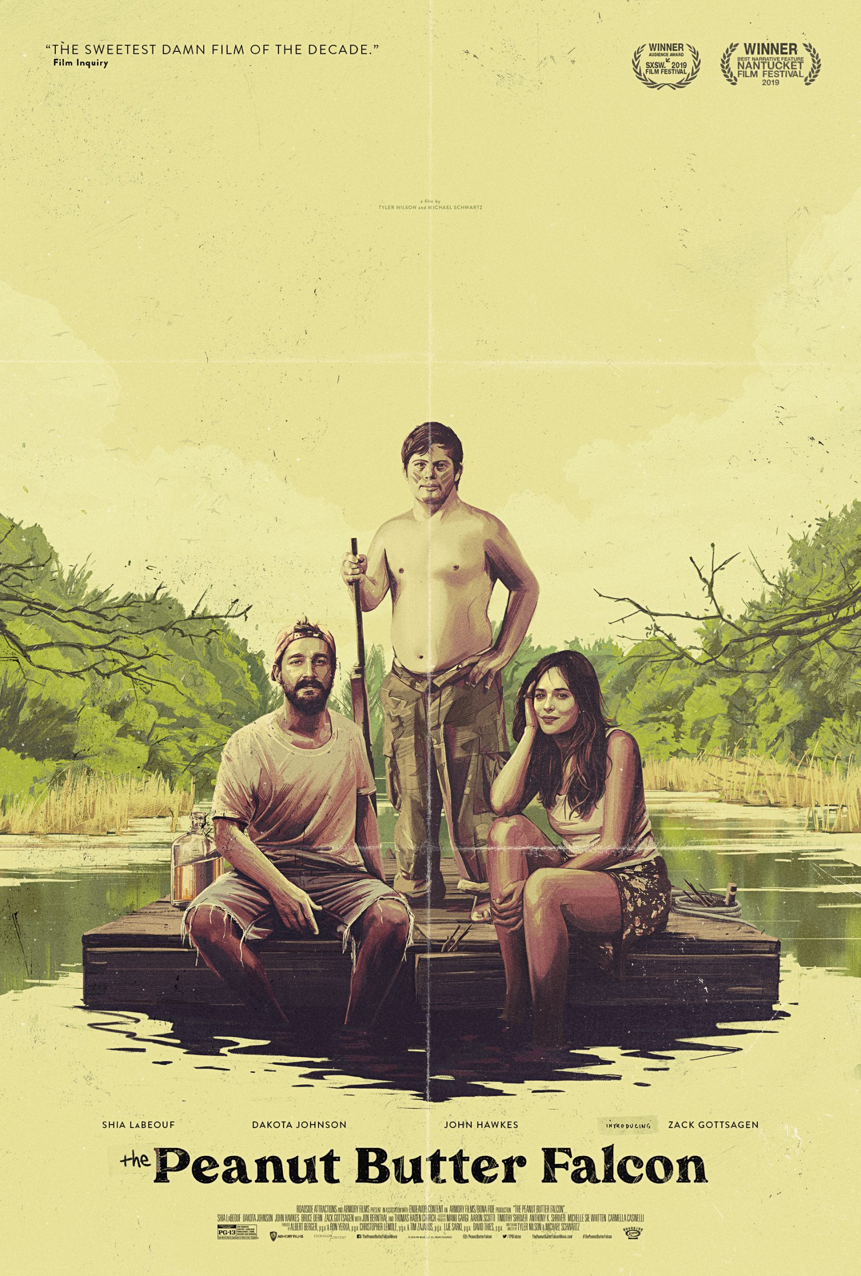Peanut Butter Falcon movie poster, with a two young men and a young woman posing on a raft
