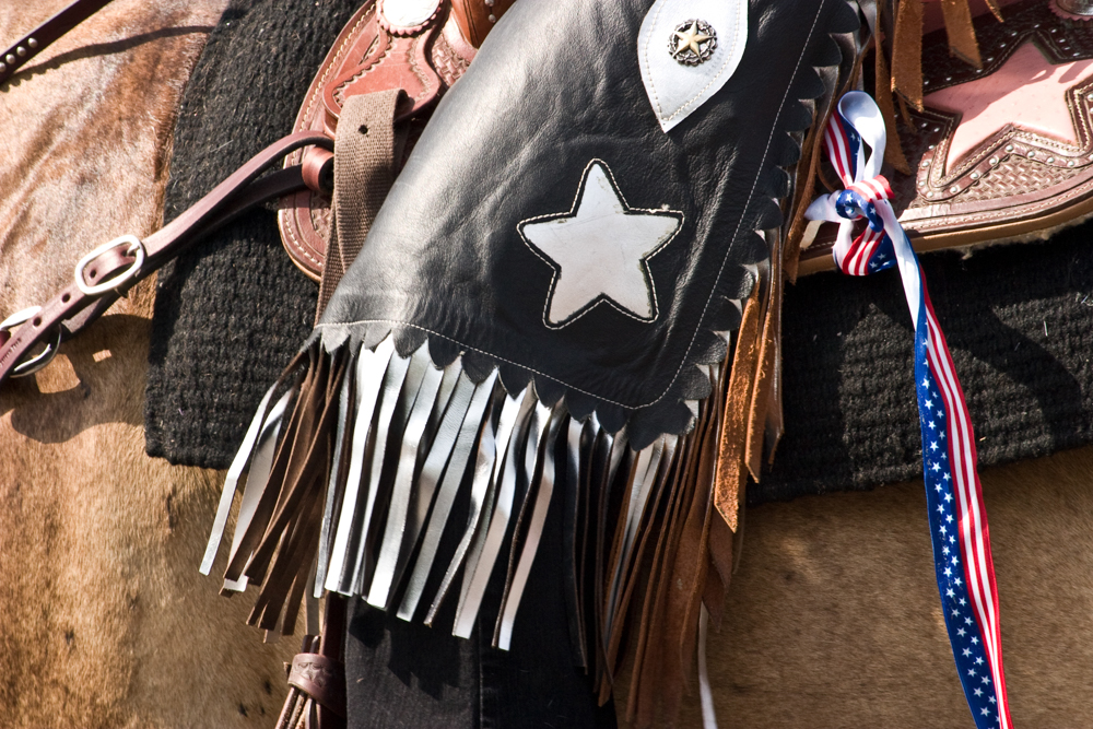 Close up of horseback rider wearing black chaps with a white star